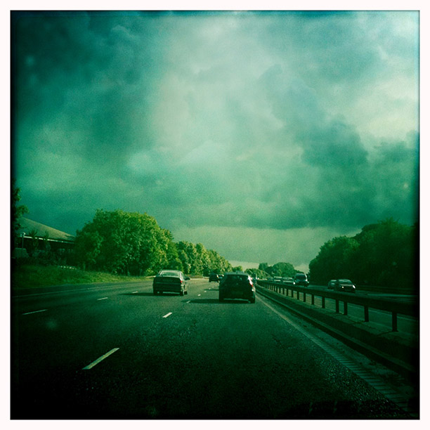Storm clouds over the motorway